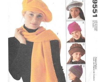 Womens Fleece Hats Scarf Sewing Pattern McCall's 9551