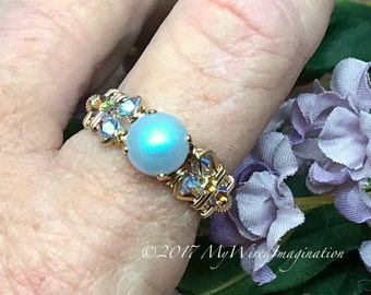 Swarovski Pearl Ring, Iridescent Light Blue Pearl & Swarovski Crystal, Handmade Wire Wrapped Ring, Unique Engagement Anniversary Birthday