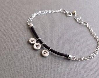 Three Initial Letter Bracelet - Monogram Bracelet - Sterling Silver Stamped Bracelet - Personalized Bracelet - Black Leather Braclet