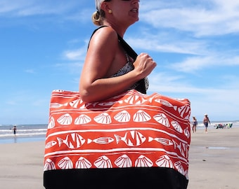 Extra Large Beach Tote - Summer Outdoors- Beach Bags - Beach Bag - Beach Tote - Beach Bag with Zipper - Large Beach Bag - Large Beach Tote