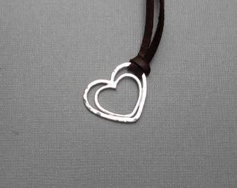 Double Heart Necklace, Sterling Silver, Argentium, Mama Metal, Baby Friendly, Nursing, Gift for Mom. Valentines Gift, Leather Cord Necklace