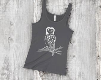 Primitive Heart Owl on Tree Branch Women's Slim Fit Next Level Jersey Tank Top