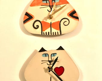 Wall Clock cat pottery triangle shape color HM orange white black - happy feline theme design unique kitty clay art