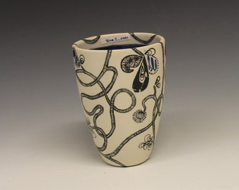 Small Cup with Royal Blue Interior and Hand Drawn Vine Exterior: Small_BlueC_0001