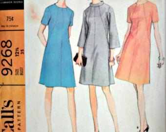 Vintage 60's McCall's 9268 Sewing Pattern, Half Size Dress In Two Versions, Size 12 1/2, 35 Bust, Mad Men Mod 1960's Fashion