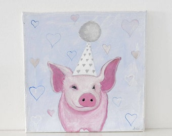 Birthday Piggy-Nursery painting,art,original,painting on canvas,art, birthday gift, decoration, sweet dreams art, for him, baby boy, toddler