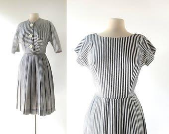 1950s Seersucker Dress   Kennebunkport   50s Dress and Jacket   Small S