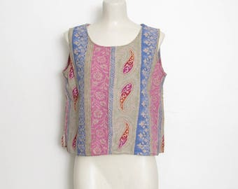 1990s Sleeveless Top / Floral and Paisley Batik Print Linen Pullover / Boxy Fit / Vintage 90s First Option Festival Shirt