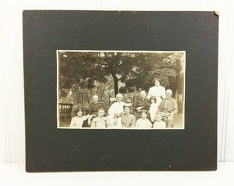 Victorian Family Sepia Photo Board, Large Outdoor Photograph Bailey Clan with Children Found Family