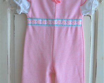 70s Vintage Baby Clothes, Hipster Baby Pink Jumpsuit, Romper, Size 9 Mo, Vintage Baby Girl, 70s Health Tex Clothes, Baby Gift, Shower Gift