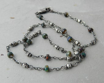 Faceted Black Opal and Faceted Sterling Layering Necklace --Minimalist