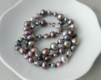 Rose, Pink, Gray, Green-Gray Pearl Gemstone Hand Knotted Strand Necklace