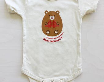 Hugging California Bear Baby Onesie
