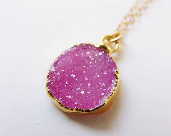SALE Fuchsia druzy gold Necklace - OOAK