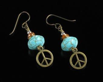 Peace Sign Earrings, Boho Brass Peace Symbol Earrings, Turquoise Niobium Earrings, Unique Hippie Jewelry Birthday Gift for Girlfriend, Wife