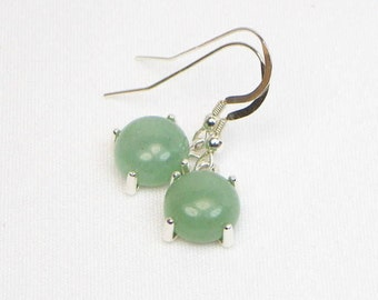Aventurine Earrings - 10MM - Sterling Silver - Genuine Gemstones - Green Earrings - Cabochon Earrings - Gift