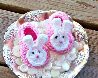 Crochet Pink Easter Bunny Baby Shoes, Baby Girl Booties, Newborn Infant First Easter Booties, New Baby Bunny Shower Gift