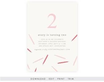 DIY Girl's Birthday Invitation | Birthday Invitation Template, Digital Download, Birthday Template, Birthday Printable, Instant Download