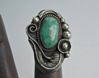 Vintage Navajo Turquoise Silver Feather  Ring