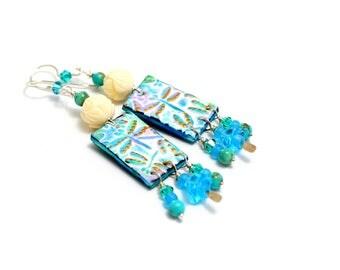 Long Dragonfly Earrings. Blue Clay Dragonfly Charms. Boho Tribal Ethnic Gypsy Nature Earrings. Long Dangle Earrings. Gifts For Women.