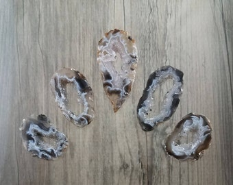 Set of 5 Natural Druzy Agate Oco Geode Slices