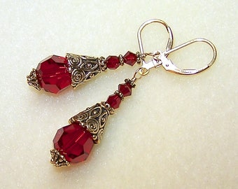 Red Drop Earrings Gold Cone Crystal Dangles Red Siam Swarovski Elements with Leverback Earwires