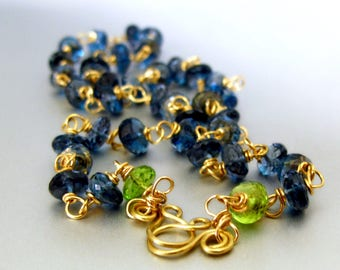 22k Solid Gold London Blue Topaz and Peridot Necklace
