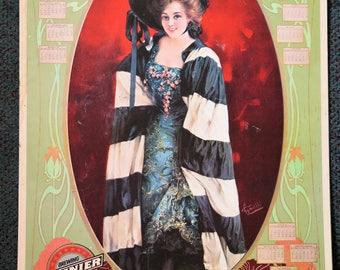 VTG RAINIER Beer 1970's Poster 1905 Calendar Marie Doro in The Girl From Kays