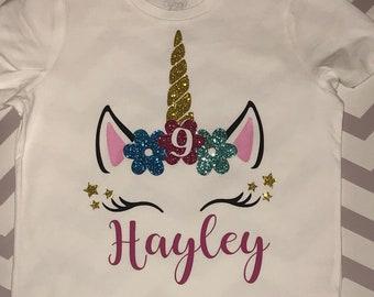 Unicorn shirt Girls Unicorn birthday shirt