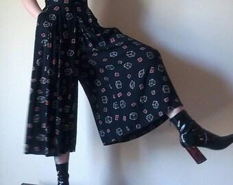 High Waist Palazzos | DICE print ultra high waist black slacks trousers palazzo wide leg cropped womens bottoms size small medium large nice