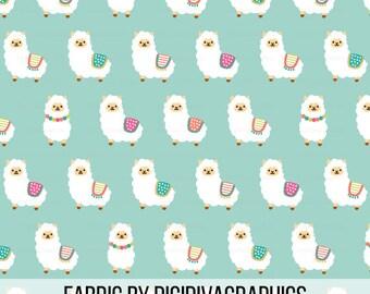 Alpaca Party Fabric By The Yard - Cute Mint Alpacas Baby Nursery Kids Llama Whimsical Crafting Print in Yards & Fat Quarter