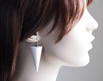 Large Antiqued Silver Triangle Drop Earrings (Leverbacks or Fishhooks)
