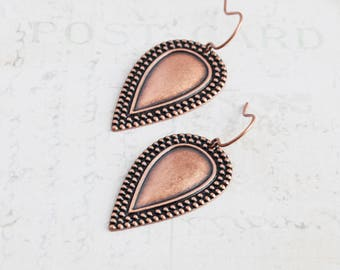 Antiqued Copper Plated Embossed Teardrop Dangle Earrings