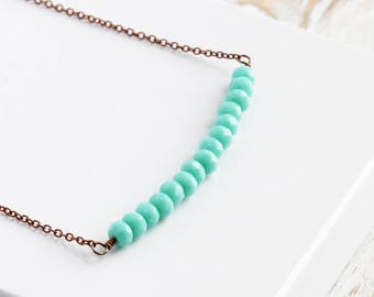 Turquoise Blue Bead Bar Necklace on Antiqued Copper Plated Chain