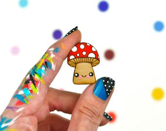 tiny happy toadstool mushroom pin / hand painted laser cut wood flair lapel badge with rubber back / woodland quirky retro