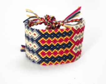 XL friendship bracelet - Wide Large micro macramé Boho statement cuff - geometric triple Mexicano pattern design hot