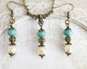 Blue rustic jewelry set, turquoise bridesmaid necklace, wedding jewelry, bridesmaid earrings, bridal party gift, bronze