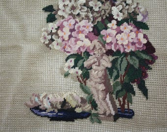 "Vintage Floral Pre-worked Needlepoint Canvas/11"" x 14"" Cherub in Garden Needlepoint Canvas/Paragon Needlepoint Canvas"