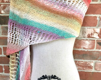 Joy in the Morning Sunrise Striped Wrap Scarf Prayer Shawl Gift for Patient