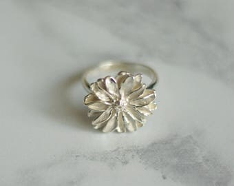 Silver daisy ring, daisy ring, flower ring, sterling silver