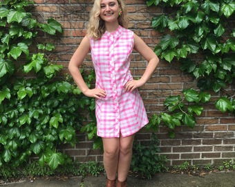 FREE SHIPPING!: Vintage 1960's Neon Pink Sleeveless Plaid Shift Dress