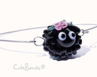 Lampwork Bracelet black Sheep