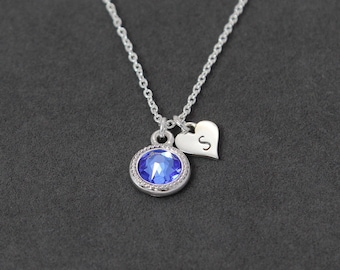 Sapphire Necklace, Dainty Initial Necklace Sterling Silver Personalized New Mom Jewelry, September Birthstone Necklace