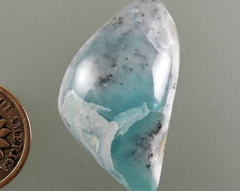 Smithsonite Cabochon, Translucent Smithsonite Cabochon, Blue Dendritic Cab, Designer Cabochon, Gift Cab, C2384, Handcrafted by 49erMinerals