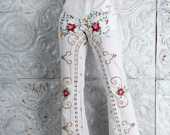 Vintage 70's Cross Stitch Embroidered Pants Roses are Red HIGH WAISTED Bell Bottom // Pants by TatiTati Style on Etsy