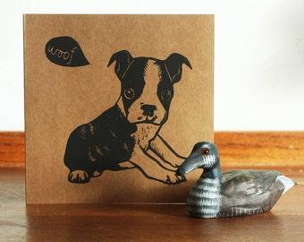 Boston Terrier, Animal linocut card, Original Hand Printed Card, Blank Greeting Card, Brown Kraft Card, Free Postage in UK,