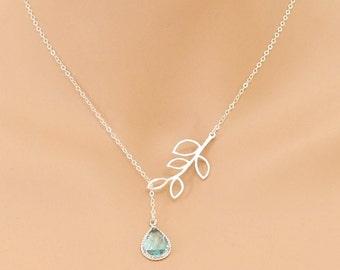 Aquamarine Lariat, Leaf Necklace, Aquamarine Necklace, March Birthstone, Wedding Jewelry, Aquamarine Jewelry, Lariat Necklace, For Her, Gift