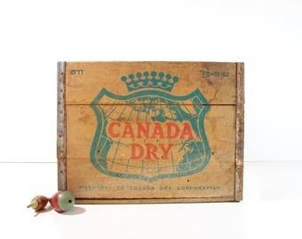 Vintage Wood Soda Pop Crate / Canada Dry Wooden Crate / Rustic Storage
