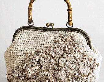 "Boho Eco Handbag ""Nacre"" (crocheted boho-chic eco-friendly handbags buy)"