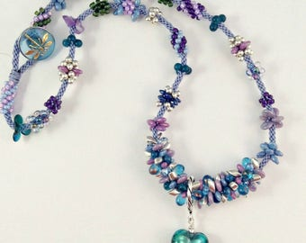 BLUE BEADED KUMIHIMO Necklace with Turquoise Foil Heart and Dragonfly Button